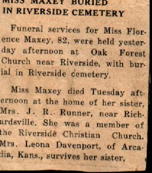.Florence Maxey Obituary.