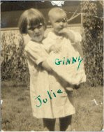 .Julie Guntle holding Virginia Dossett.