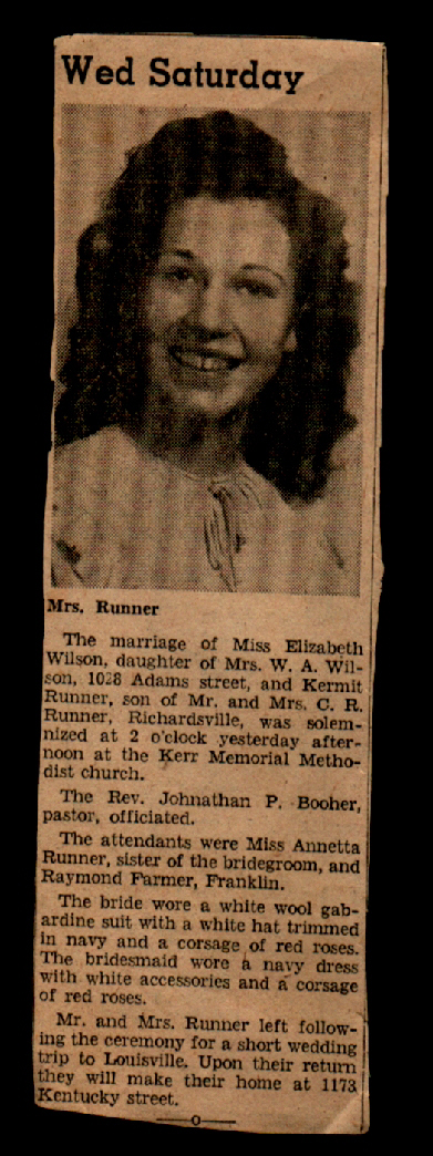 .Stephen Kermit Runner Wedding to Elizabeth Wilson.