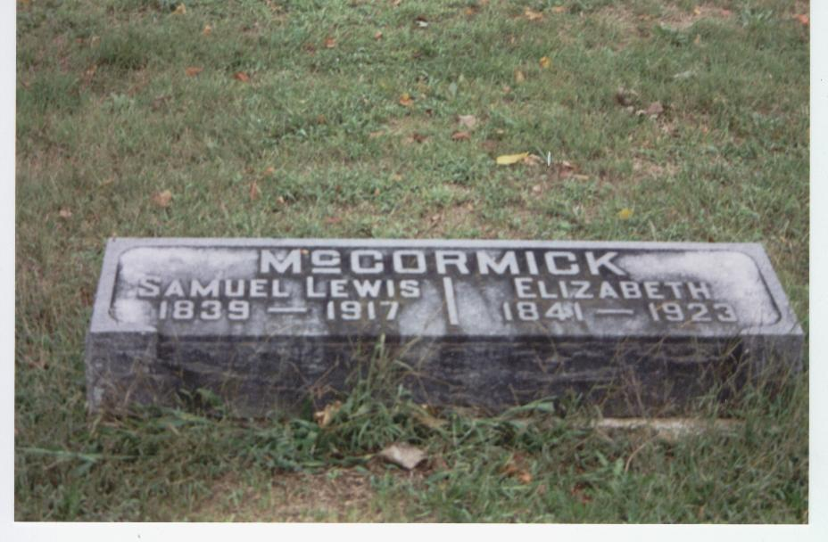 .Headstone Samuel and Elizabeth McCormick.