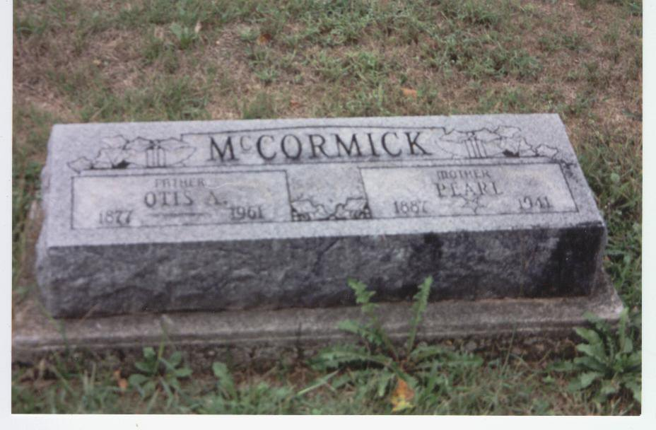 .Headstone for Otis and Pearl McCormick.