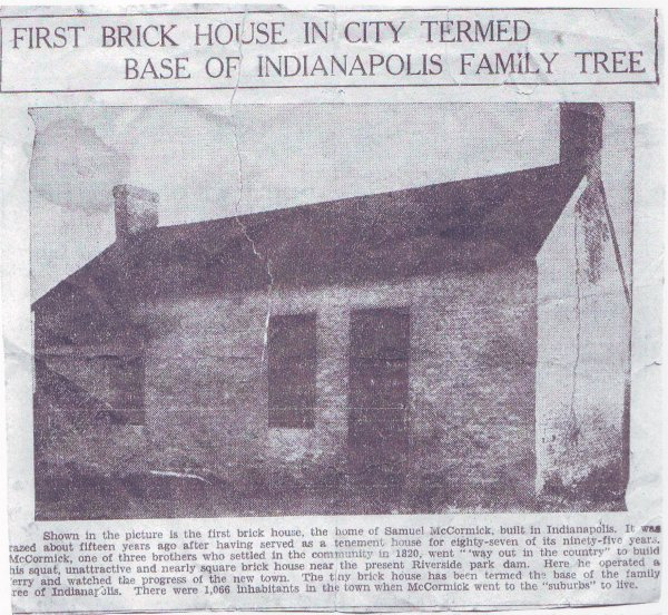 .First Brick House in City Termed Base of Indianapolis Family Tree.