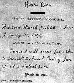 .Samuel Jefferson McCormick Funeral Notice Jan 10 1894.