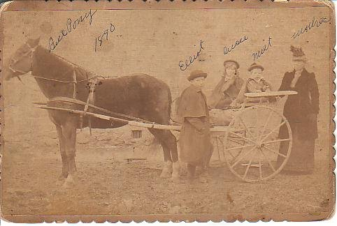 .George Elliot, Suzie Maude, Milton, their mother Emma [Leonard] McCormick.  About 1890..